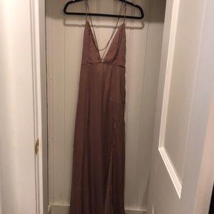 Beige v neck evening gown